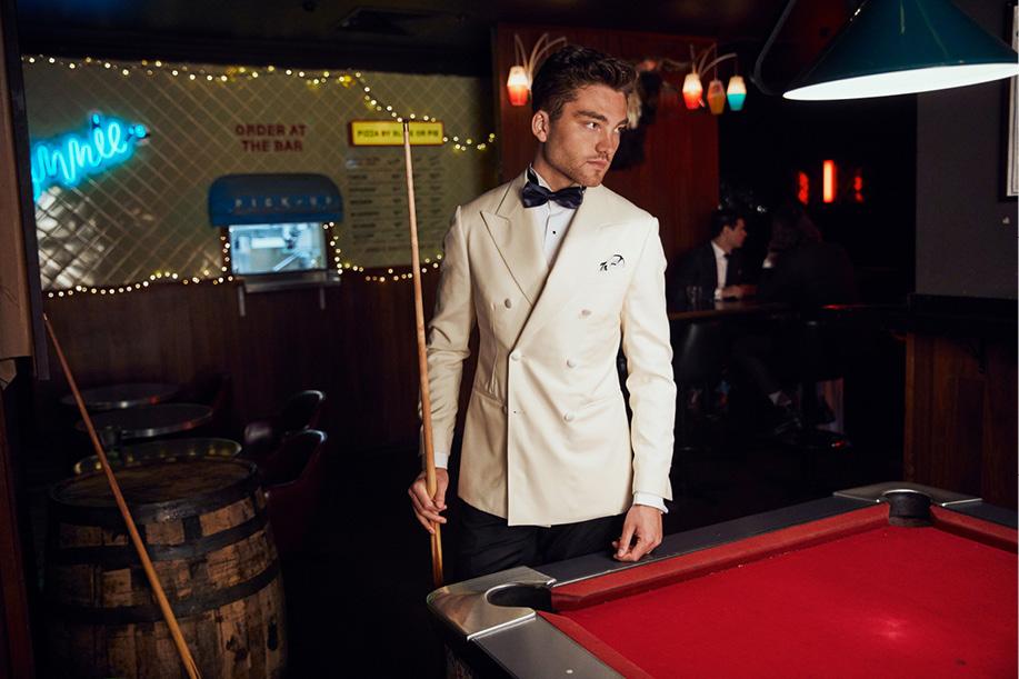 InStitchu Autumn/Winter 19 Collection Cream, Custom, Tailored Tuxedo, Tuxedo Shirt and Navy Silk Bow Tie—Man of Class